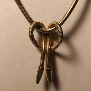 Unique Gold Tone Necklace w/Knot Dangle Pendant